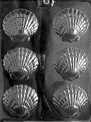 Clam Shell Fancy 6 Cavity Chocolate Craft Candy Mold