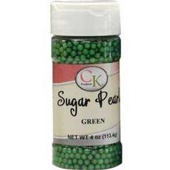 4mm Green Matte Edible Sugar Pearls 1 oz.