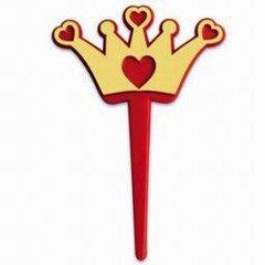Crown with Heart Valentine Cupcake Picks 12 Piece