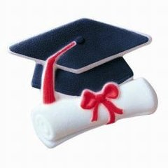 Cap & Scroll Graduation Sugar Decorations 2 Piece