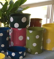 Polka Dot Flower Pot Assorted Hand Painted