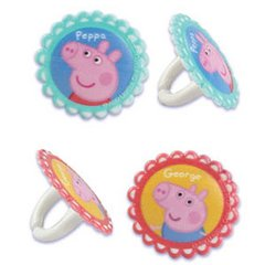 Peppa Pig and George Cupcake Rings 12 Piece