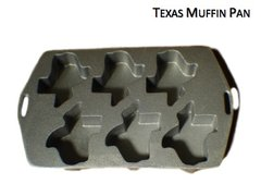 State of Texas Shaped Cake Muffin 6 cavity Cast Iron Pan