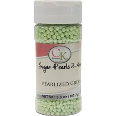 Green Pearlized Pastel Edible Sugar Pearls 3mm 3.6-4 oz