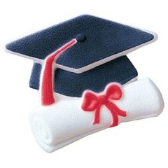 Cap & Scroll Graduation Sugar Decorations 12 Piece