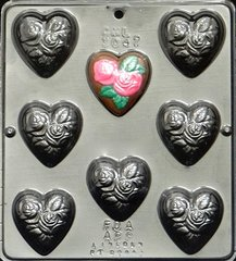 Heart with Roses Chocolate Craft Candy Mold
