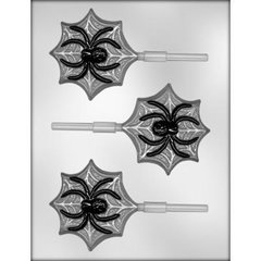 Spider on Web 3 Cavity Lollipop Chocolate Craft Candy Mold