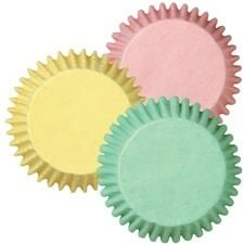 Pastel Yellow Pink & Green Standard Muffin Baking Cups 75 piece