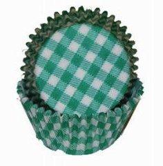 Green Gingham Mini Muffin Baking Cups 80-100 Piece