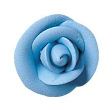 Party Blue Medium Royal Icing Roses 1 1/2 inch 5 Piece