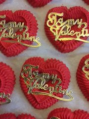 Red Heart Valentine Script Royal Icing Decorations 6 Piece