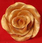 Gold Metallic Rose 3D 2 inch 5 Piece Edible Gumpaste Flower