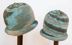 Child Adult Hat Rolled Brim Beanie Color: SEA TAUPE