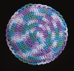 100% Cotton Hand Crocheted Round Pot Holder Hot Pad Doily Trivet Color: BEACH BALL