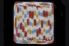 100% Cotton Hand Crocheted Square Pot Holder Hot Pad Doily Trivet Color: CALICO