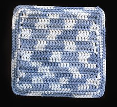 100% Cotton Hand Crocheted Square Pot Holder Hot Pad Doily Trivet Color: FADED DENIM