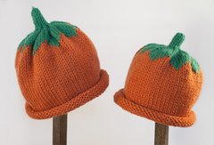 Child Adult Hat Rolled Brim Beanie Color: PUMPKIN