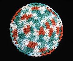 100% Cotton Hand Crocheted Round Pot Holder Hot Pad Doily Trivet Color: AHOY