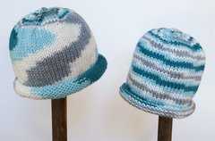 Child Adult Hat Rolled Brim Beanie Color: WINTER SKY