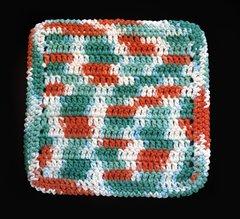 100% Cotton Hand Crocheted Square Pot Holder Hot Pad Doily Trivet Color: AHOY