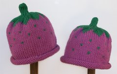 Child Adult Hat Rolled Brim Beanie Color: RASPBERRY