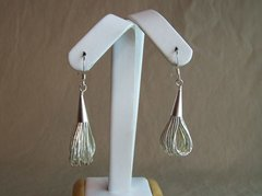 Liquid Silver 20 Strand Earrings