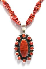 Two Strand Red Spiny Oyster Necklace with Pendant