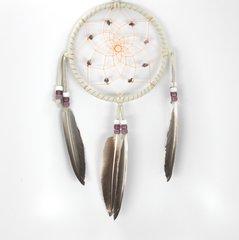 "5"" Dreamcatcher w/ Stones & Beads, Purple with dark feathers"