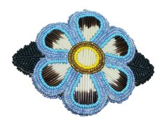 Blue Beaded Flower and Quill Barrette