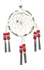 Red Small Circle Dream Catcher with Sweetgrass & Beads