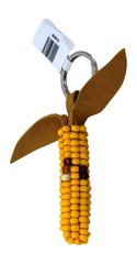 Yellow Corn Keychain with Leather Fringe