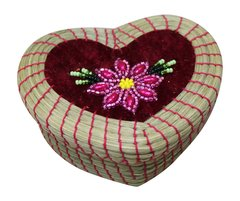 Medium Heart Sweet Grass Basket w/ Beaded Lid - Red