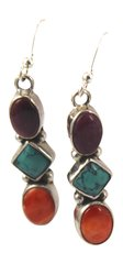 Spiny Oyster and Turquoise Stone Dangle Earrings