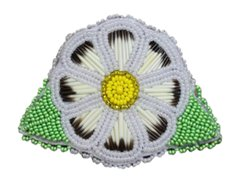 Quill & Bead Flower Barrette White