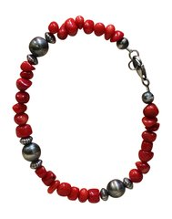 Bamboo Coral & SS Bead Bracelet