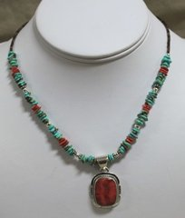 Turquoise & Red Spiny Oyster Heishi Necklace
