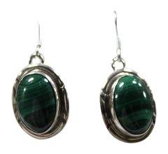 Round SS Malachite Hook Earrings