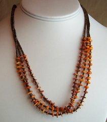 Heishi & Orange Spiny Necklace