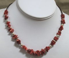 Heishi & Red Spiny Oyster  Necklace