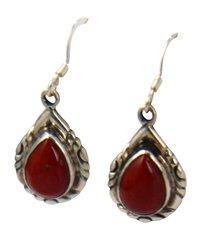 Coral Teardrop Sterling Silver Dangle Earrings