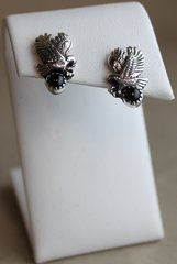 Silver & Onyx Eagle Earrings