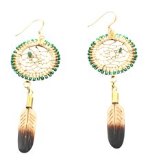 Beaded Dreamcatcher Earrings, Green