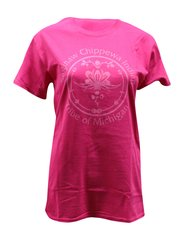 Saginaw Chippewa Indian Tribe Logo Tee Heliconia Pink