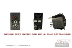 Switch with Red/Blue LED's, SPST ON - OFF, No Rocker/Actuator