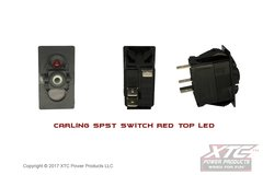 Switch with Red Top LED, SPST ON - OFF, No Rocker/Actuator