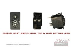 Switch with Blue/Blue LED's, SPST ON - OFF, No Rocker/Actuator