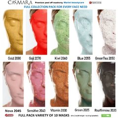CASMARA FULL COLLECTION-VARIETY of 10 facial peel off masks box