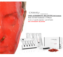 CASMARA GOJI facial Treatments-2 full treatments x 6 phases GOJI BALANCING ANTIOXIDANT peel off face masks