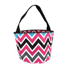 Multi color chevron Easter bucket tote