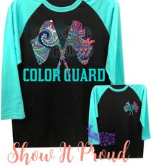 Monogrammed Color Guard Raglan- Black with turquoise sleeves.